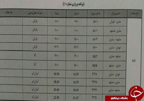 پرواز های چهارشنبه 9 آبان ماه فرودگاه های مازندران